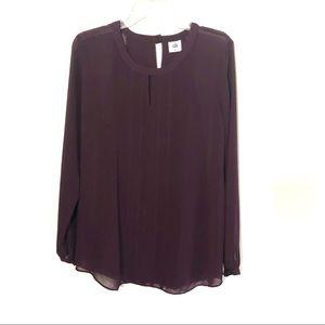 CAbi entice blouse keyhole sheer plum top